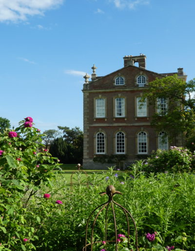 Herbaceous border with House